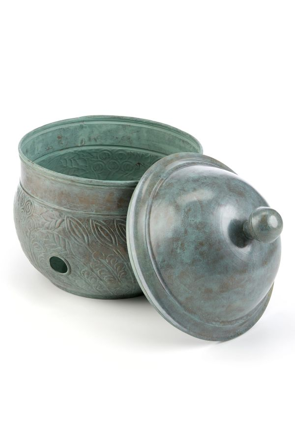 Key West Hose Pot w/Lid - Blue Verde Brass