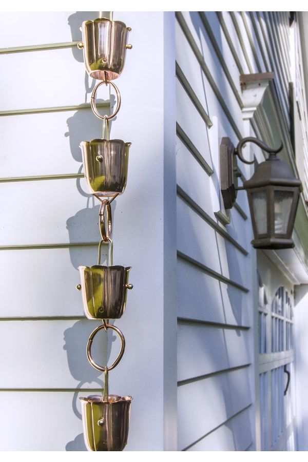 14 Cup Bluebell Pure Copper 8.5 ft. Rain Chain