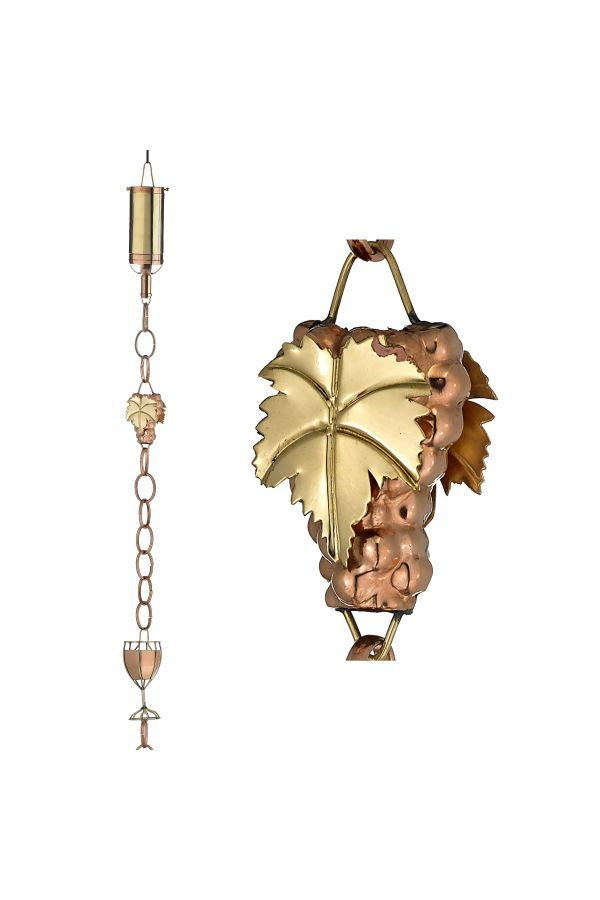 Wine Bottle with Grapes & Glasses Rain Chain