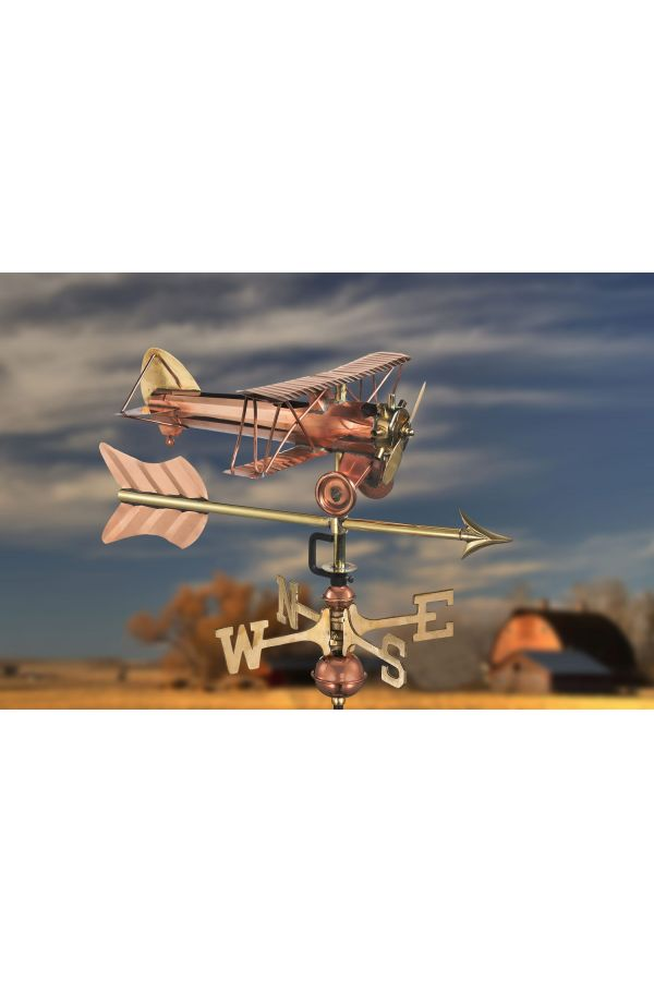 Biplane w/Arrow Garden Weather Vane