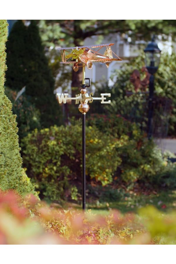 Biplane Garden Weather Vane