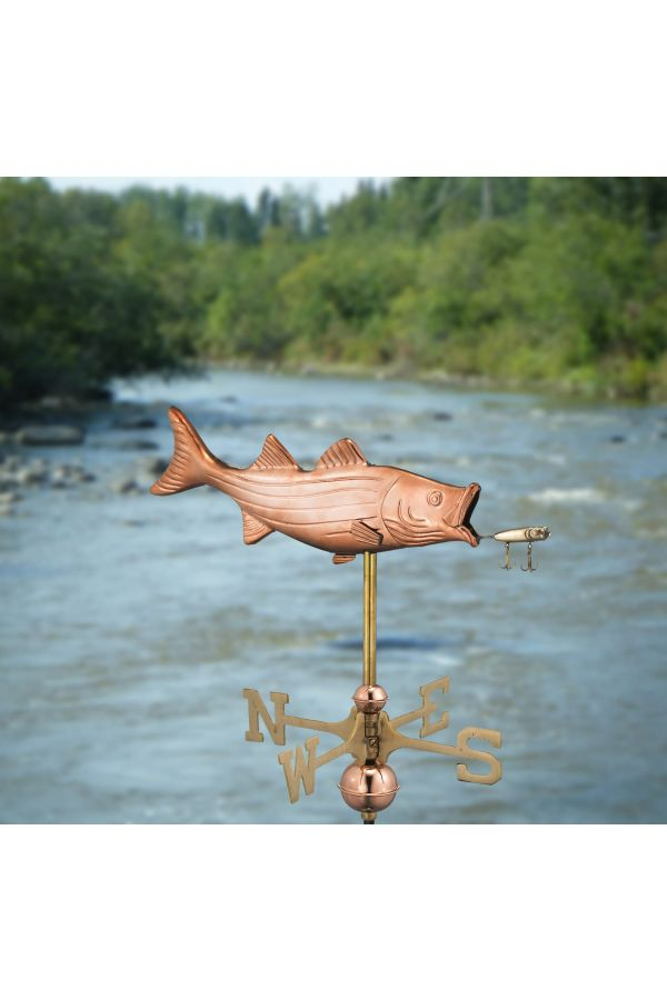Bass with Lure Garden Weather Vane