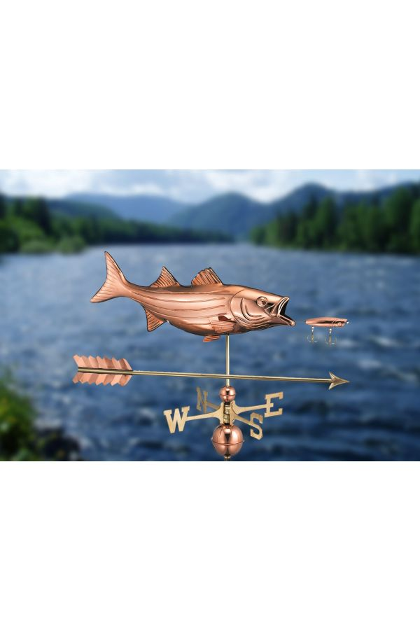 Bass with Lure Weather Vane w/Arrow
