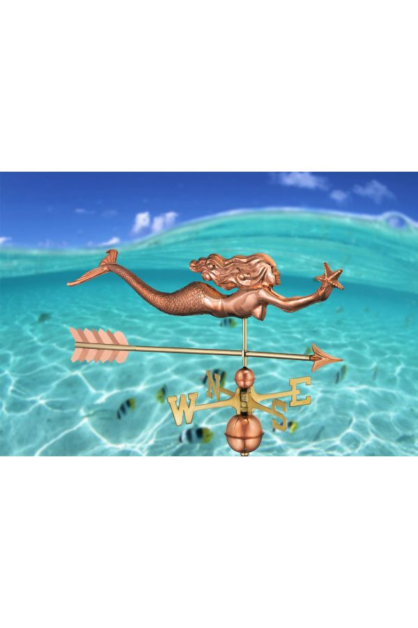 Mermaid with Starfish Weather Vane w/Arrow