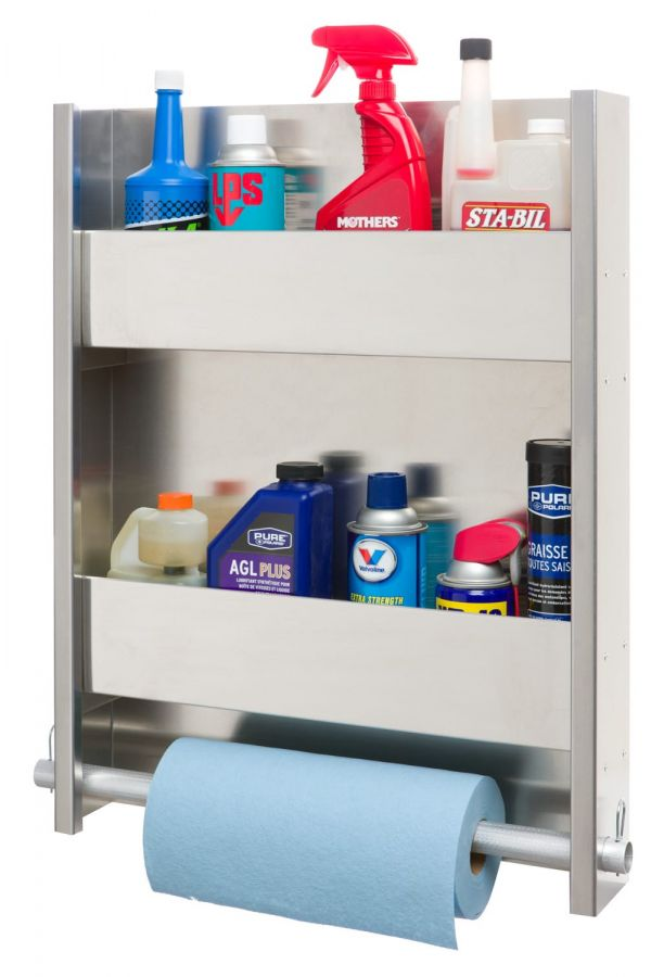 2 Shelf Wall Cabinet System with Paper Towel Holder