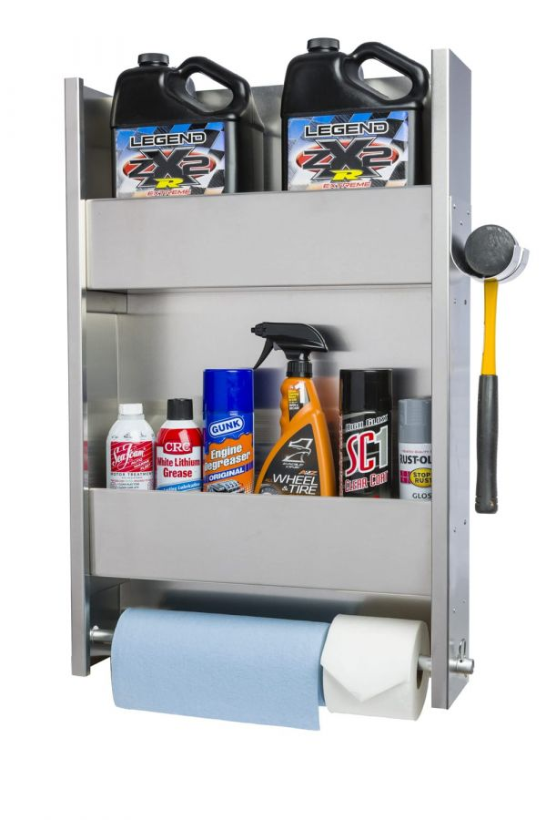 2 Shelf Wall Cabinet System with Paper Towel Holder & Rubber Mallet Holder